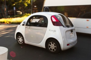 White driverless cars like this Google model in Toronto.