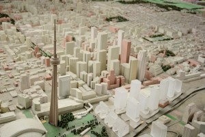 Scale model of downtown Toronto with City Hall and the CN Tower.