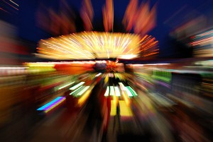 Photo of bright colours and blurred lights to symbolize the effects of pychedelic drugs.