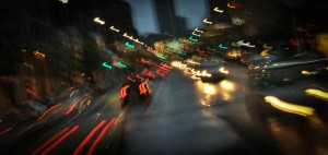 How driving drunk in traffic would look with blurred vision.
