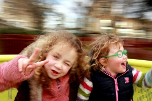 Children on a carnival ride.