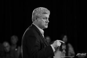 Prime minister Stephen Harper giving a speech.